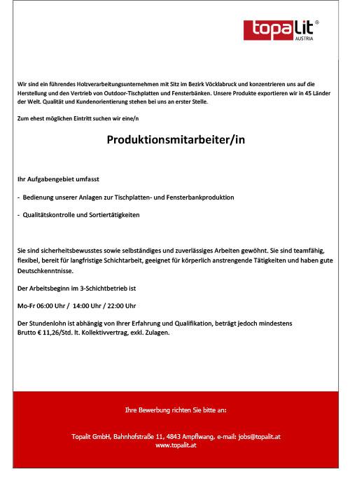 Stellenangebot ProduktionsmitarbeiterIn
